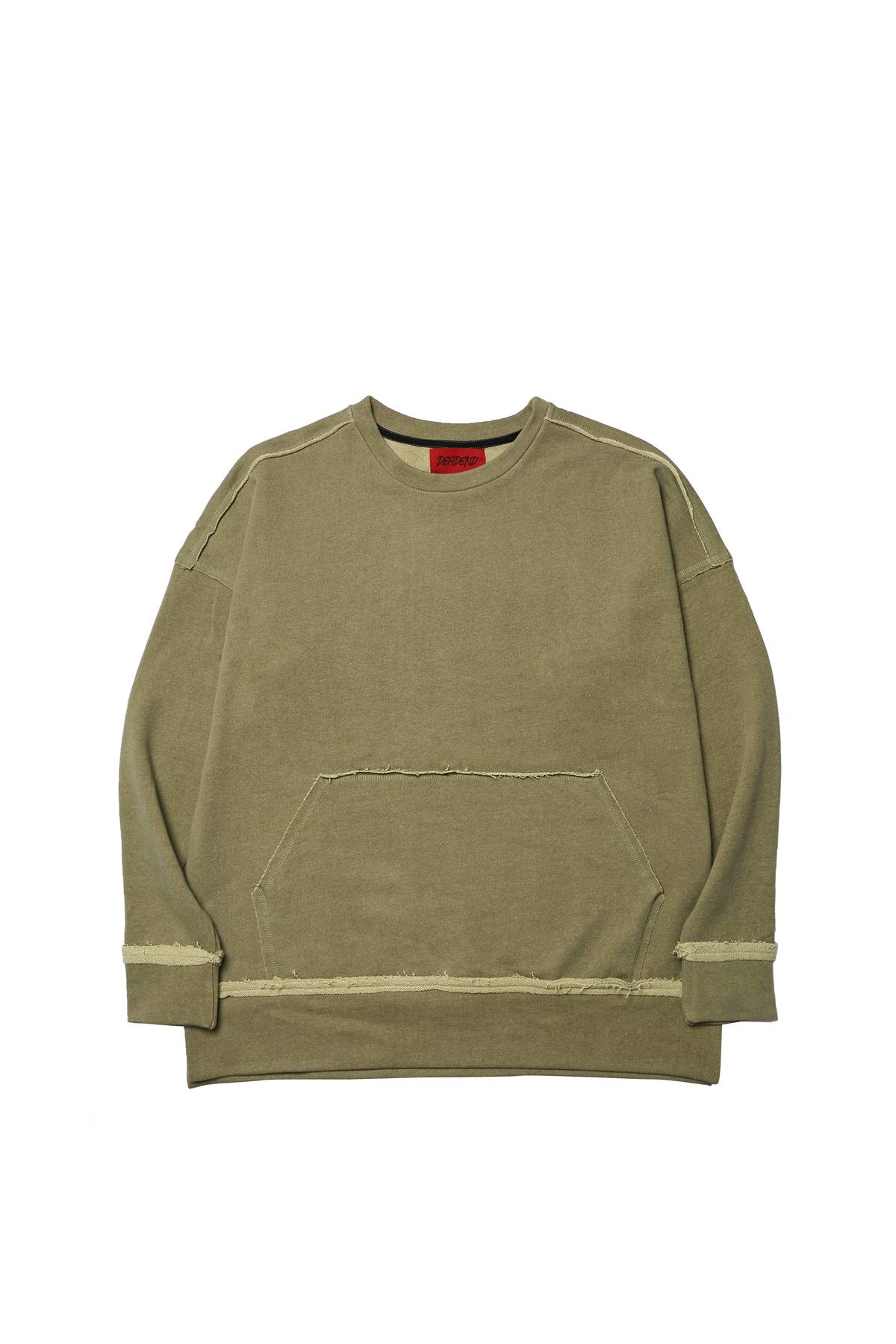 KHAKI RAW EDGE SWEAT SHIRTS