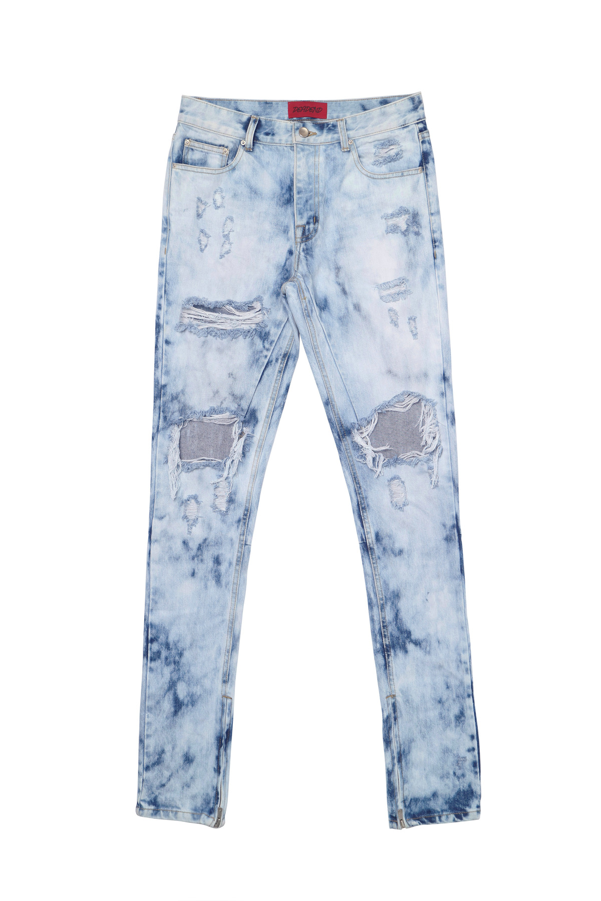 LEOPARD ZIPPER DENIM JEANS