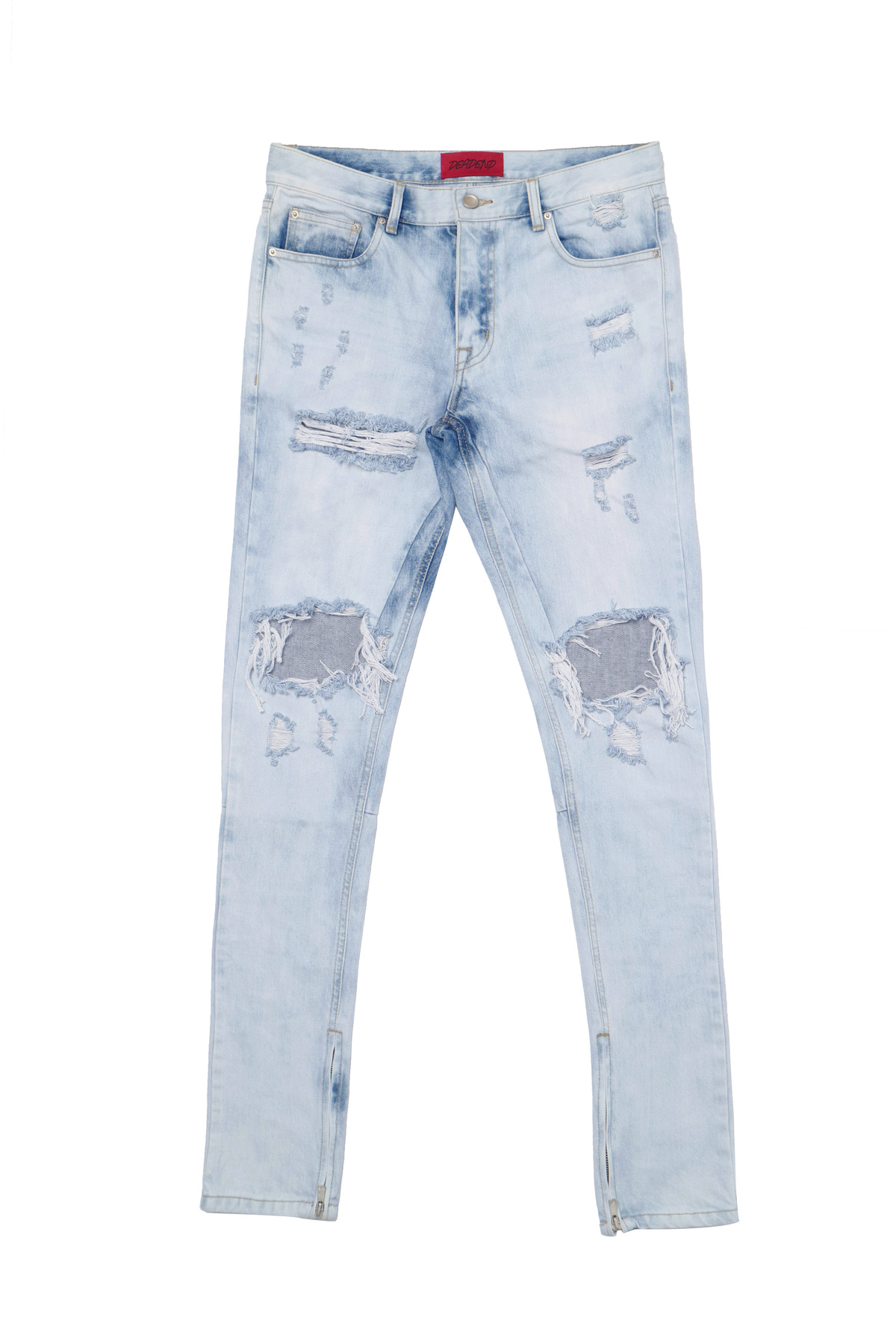 LIGHT BLUE ZIPPER DENIM JEANS