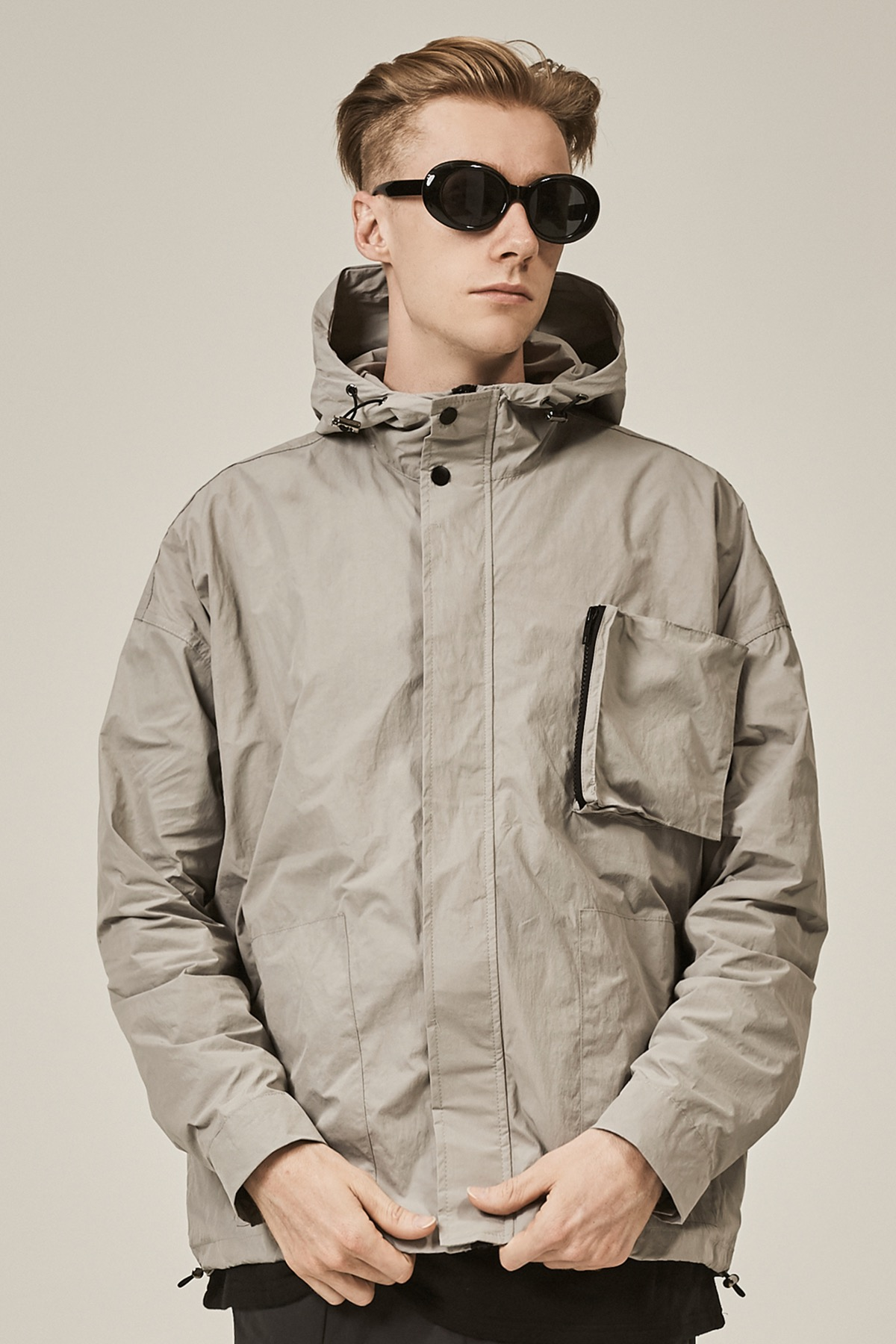 GRAY POCKET DOCKING HOODIE JACKET