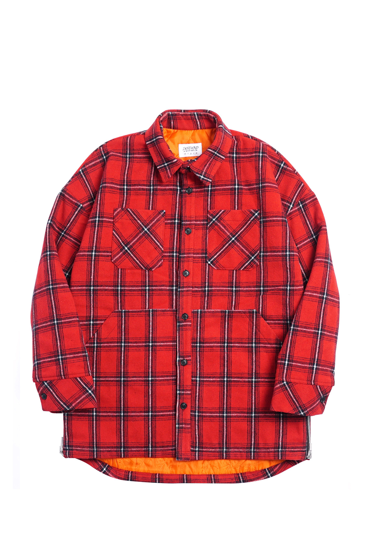 RED FLANNEL SIDE ZIP POCKET SHACKET