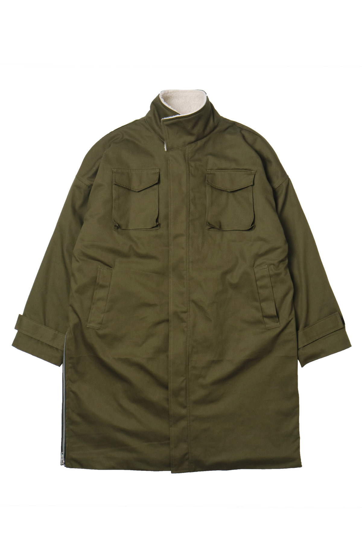 KHAKI SHERPA SIDE ZIP PARKA