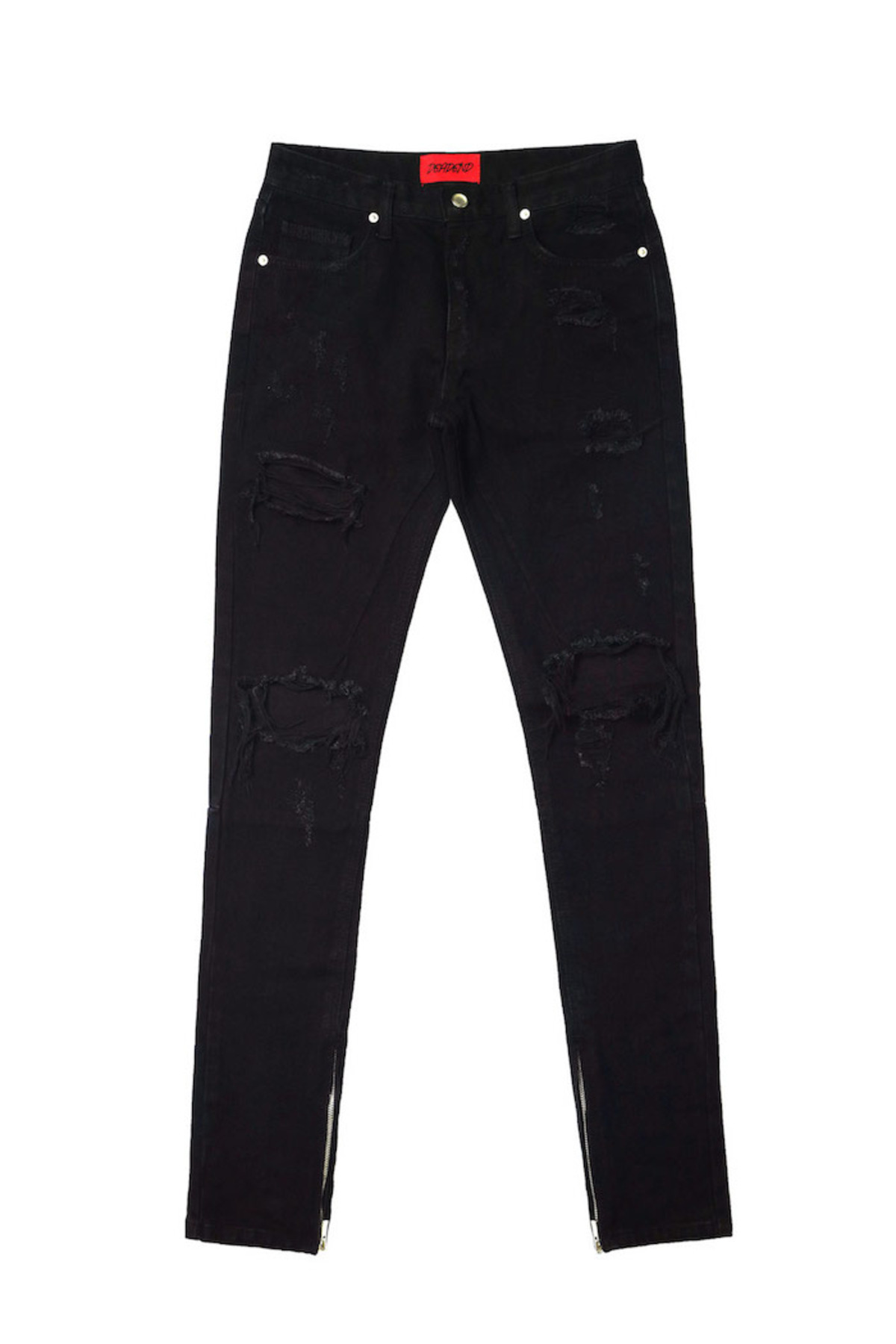 BLACK DESTROYED ZIPPER DENIM JEANS