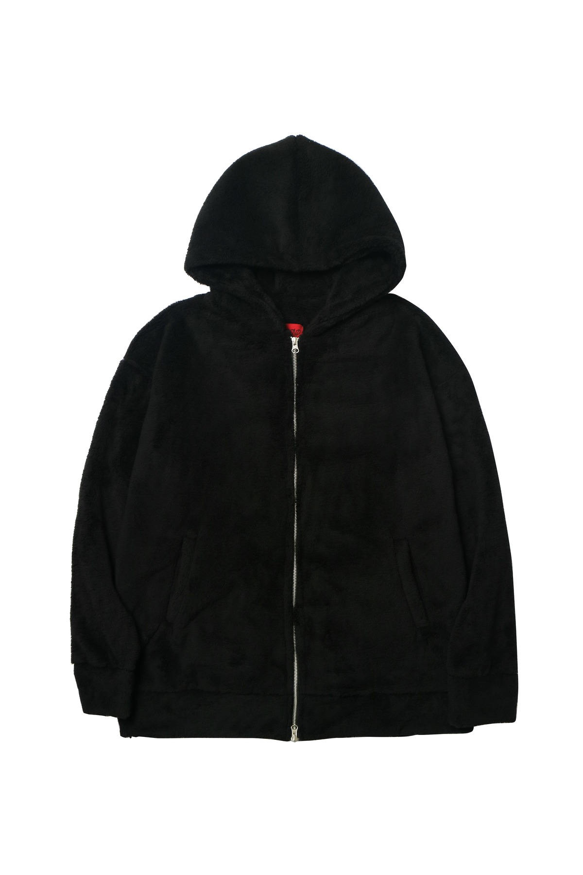 BLACK SHERPA 2WAY ZIP UP HOODIE