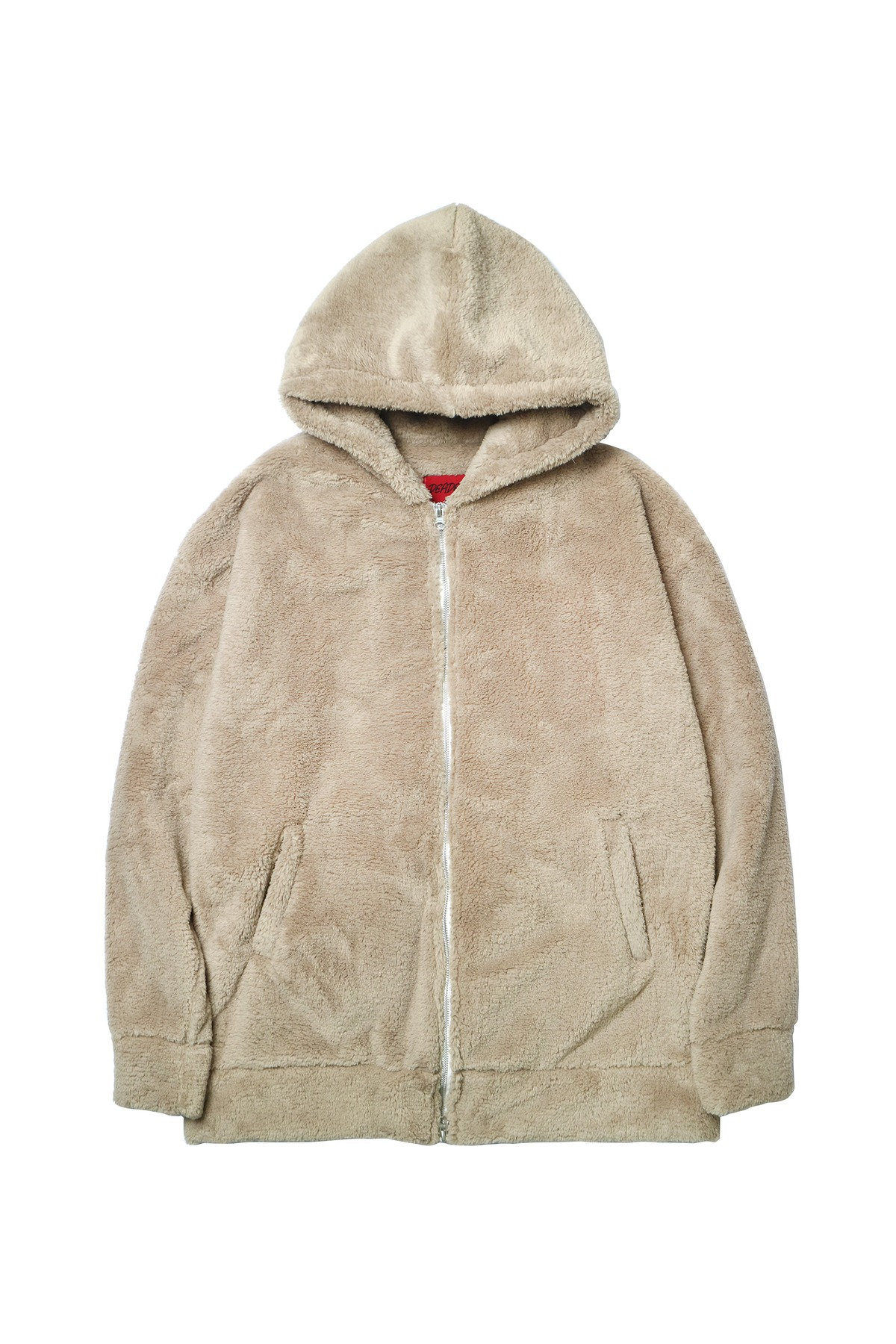 BEIGE SHERPA 2WAY ZIP UP HOODIE