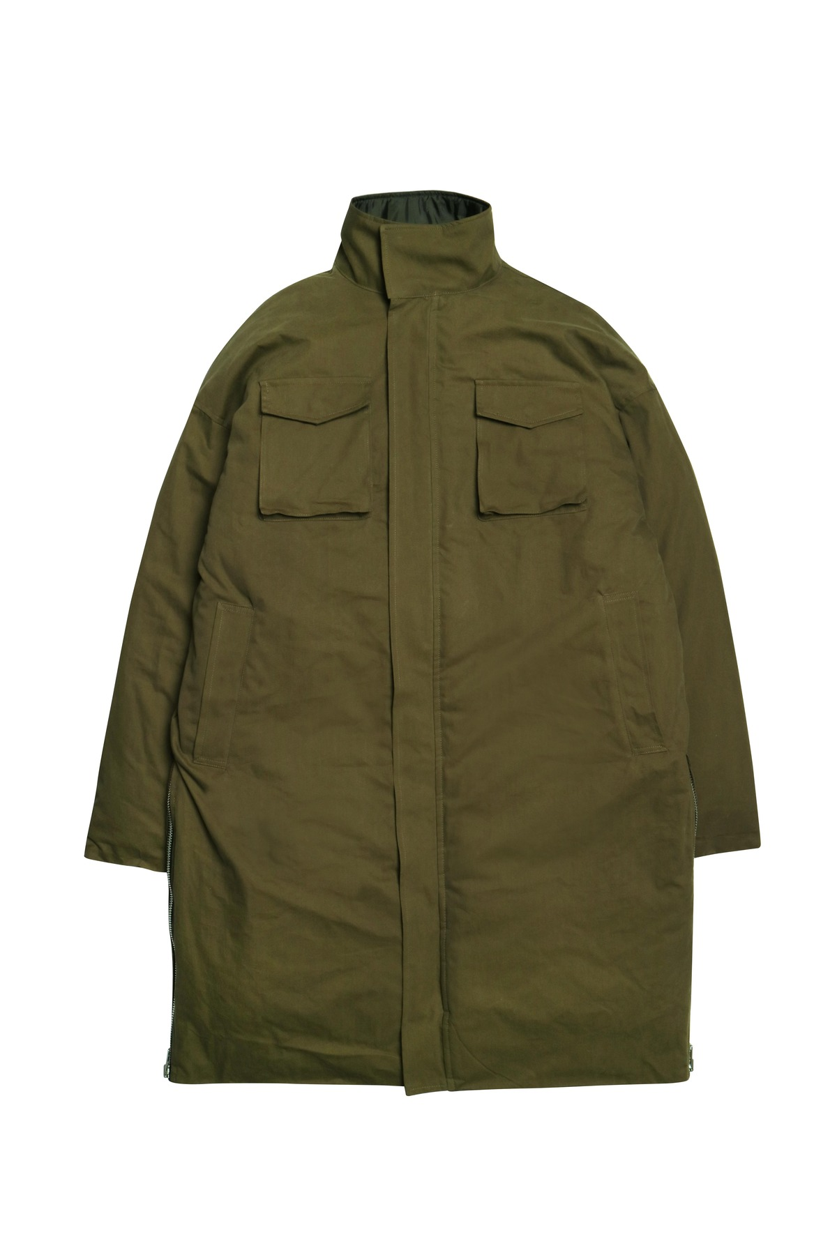 KHAKI SIDE ZIP LONG PADDING