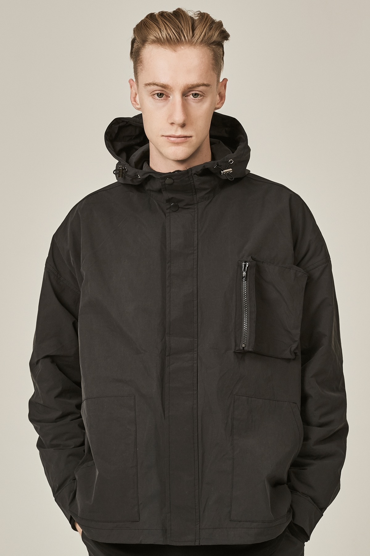 BLACK POCKET DOCKING HOODIE JACKET