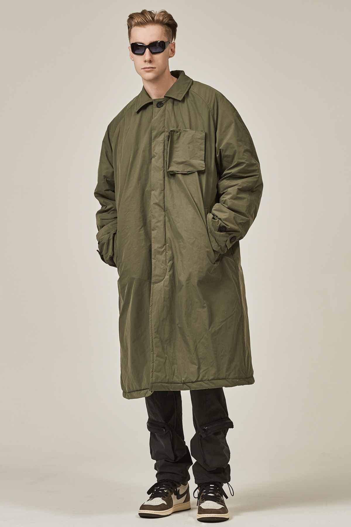 KHAKI POCKET DOCKING PADDED LONG COAT