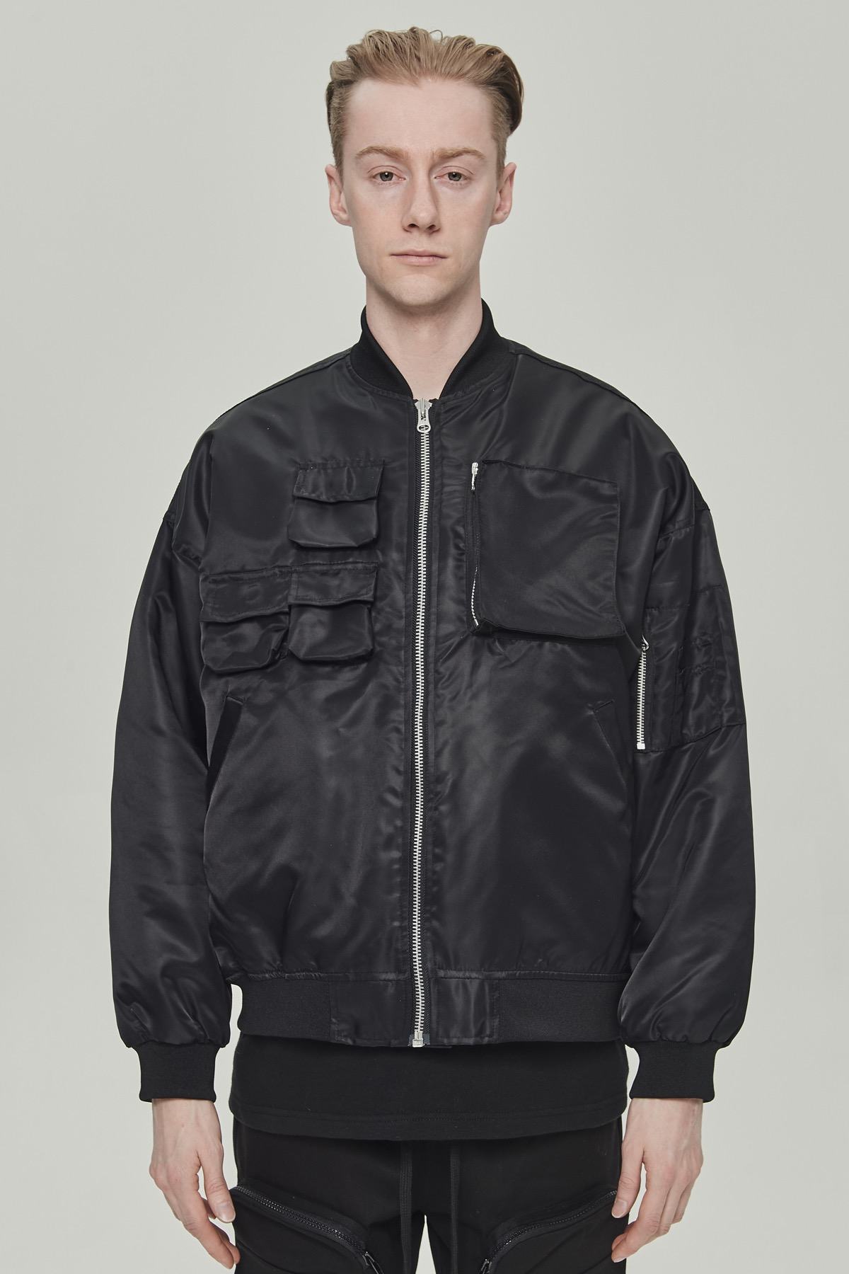 BLACK MULTI POCKET MA-1 BOMBER JACKET